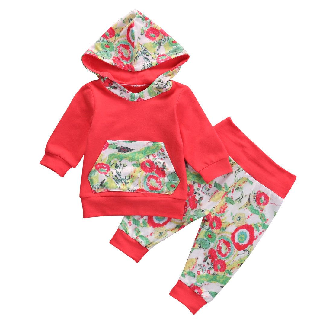 US Autumn Infant Baby Girls Clothes Hooded Tops+Floral Leggings Pants Outfit Set