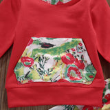 2 Pcs Floral Baby Girl Graffiti Hooded Clothing Set Infant Babies Girl Hoodie Flower Tops+Pants 2pcs Outfits Clothes Set