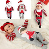 2 Pcs Newborn Baby boys Girls Xmas Santa Claus Rompers Infant Babies Kid Cute Christmas Romper+hat/headband Outfits Kids Clothes