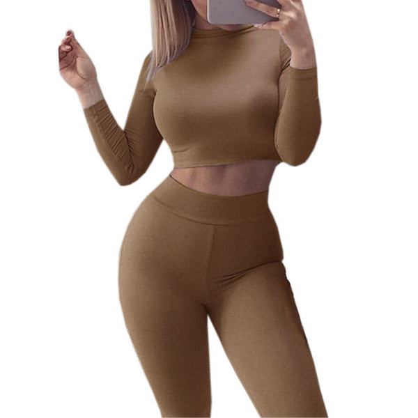 2 Piece Set Women Suit Fashion 2016 Autumn Winter Sexy Skinny Pant and Cropped Top Sportsuits Sets Bodycon Skinny Outfits GV454
