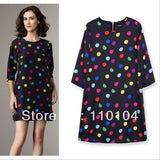 2014 New European Style Spring Summer Vintage Cute Women Half Sleeve Slim Fit Casual Dress Dot Print Mini Chiffon Black Dress