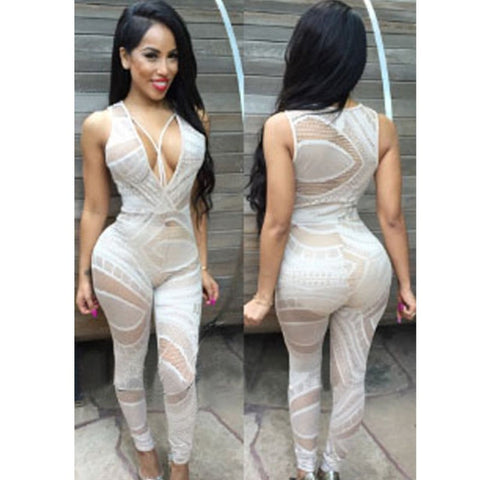 3d3572415e8 ... 2015 Fashion Sexy women Jumpsuit White Black Lace Jumpsuits   Rompers  Womens V-Neck Sheer