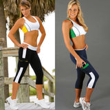 2015 Hot Fashion Women Capri Running Sport Pants Tights High Waist Cropped Fitness