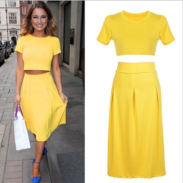 2015 Hot New Style 2 Piece Bandage Bodycon Dress Celebrity Short Sleeve Sexy Club Dresses Yellow Vestido Crop Top Elegant Outfit