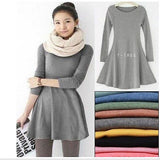 2015 Ladies Long Sleeve Warm Casual Cocktail Party Retro Solid Comfortable Dress Free shipping