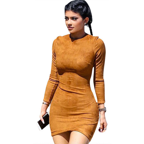 2015 Long Sleeve Slim Party Dress Sexy Club Brown Vestido Women Winter Dresses Kylie Jenner Skin Tight Faux Suede Bodycon Dress