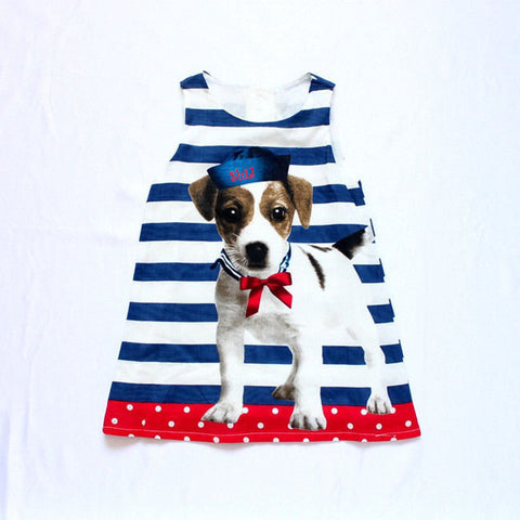 2015 New Arrival Baby kids girls lovely dog Design summer dresses sleeveless Casual striped dress 3 to 7Y Children Clothing