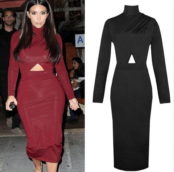 2015 New Arrival Celebrity Long Sleeve Sexy Bandage Bodycon Party Cocktail Pencil Club Midi Dress Size Medium Color Black/ Red