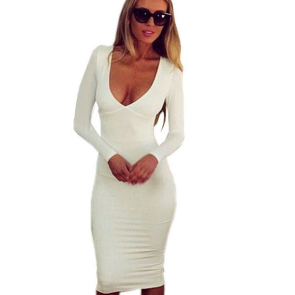 2015 New Elegant Ladies' OL Dresses Sexy Women Slim Solid Patchwork Dress Bandage Bodycon Work Casual Party Pencil Dress White