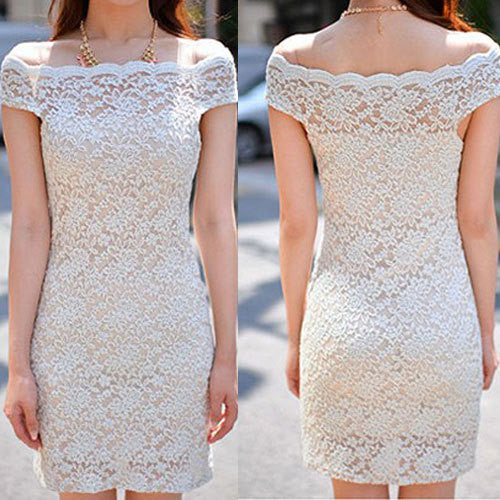 2015 New Women Clothing Bodycon Flower Two-Piece Lace Dress Slash Off The Shoulder Women Sexy Fashion Lady Mini Dress