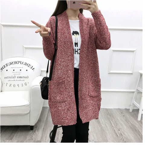b87a9bd0ba5e22 ... 2016 Autumn Winter Fashion Women Long Sleeve Loose Knitted Long Cardigan  with Pockets Sweater Womens Cape ...