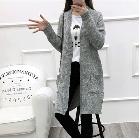 9a89351a078481 2016 Autumn Winter Fashion Women Long Sleeve Loose Knitted Long Cardigan  with Pockets Sweater Womens Cape