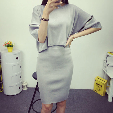 ccda14b5f2 ... 2016 Batwing Sleeve with Zipper Sweater and Knitted Skirt Suit 2 Two  Piece Sweater Skirt Set ...