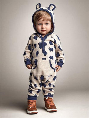Babies Jumpsuit Newborn Infant Toddlers Boy and Girls Winter Cotton Hoody Romper