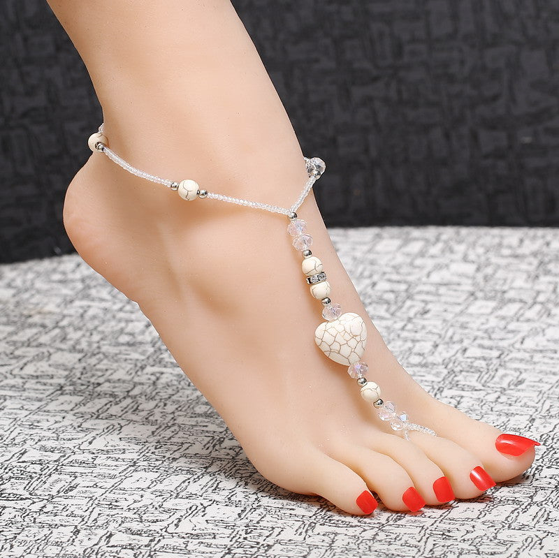 wedding crystal fashion anklet pie chain bracelets boho sandals beach jewelry sexy leg female product ankle foot bracelet barefoot