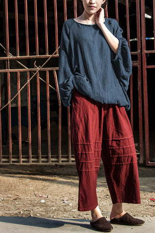 19ef4e47f62 ... 2016 Spring Fall Loose Wide Leg Pants Capris Pants Casual Cropped  Trousers Calf Length Ankle Length ...
