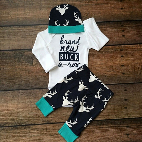 527ceb935040c 2016 Toddler Infant Newborn Baby 3PCS Baby Girls Boy Clothing Set 3pcs Long  sleeve Romper+