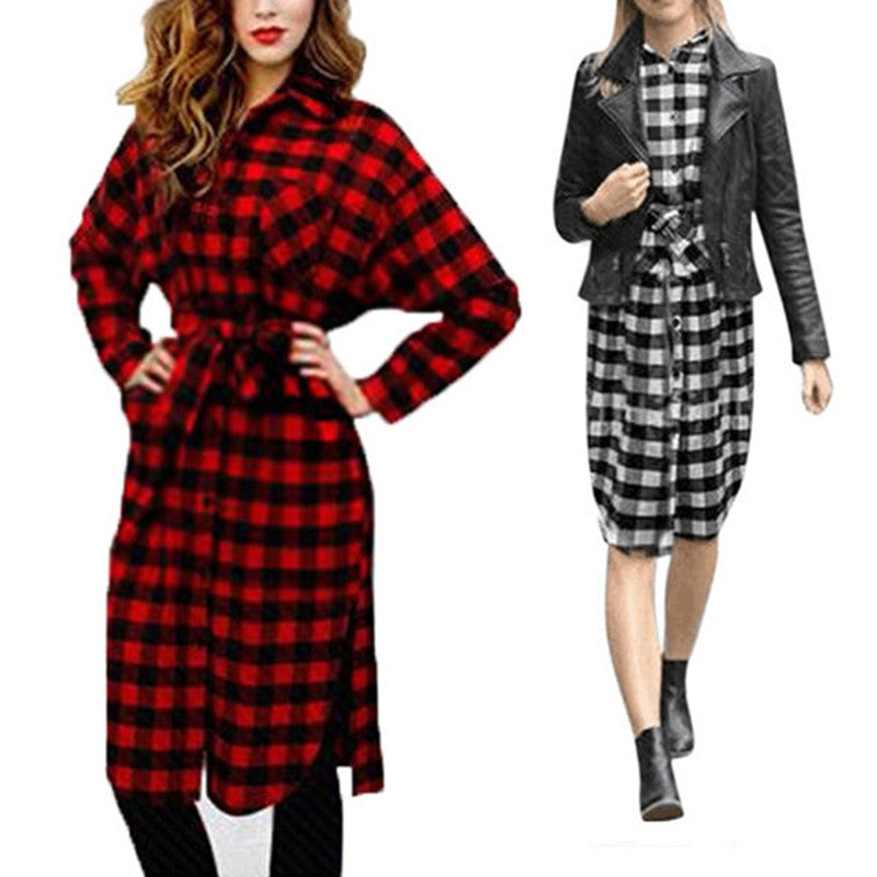 2017 Autumn Winter Shirt Dress Women Long Sleeve Lapel