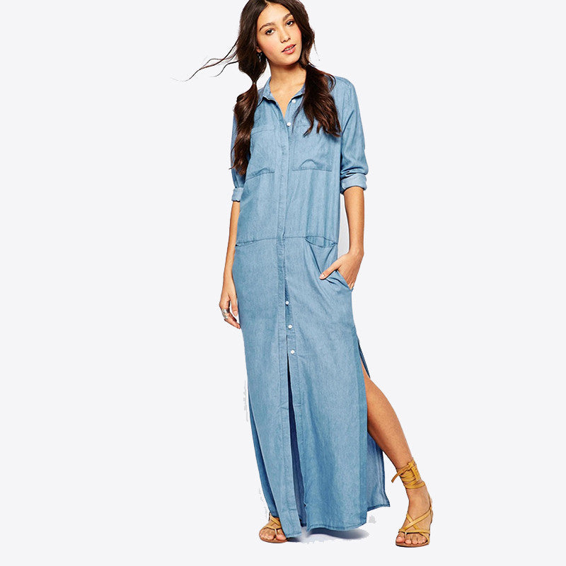 2017 Fashion Long Sleeve Maxi Dress Vestido Jeans Dress Plus Size Women  Clothing Long Floor Length Denim Dress Loose Dresses