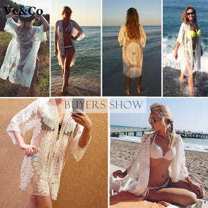Beach Cover-Up Robe De Plage New Floral Embroidery Summer Wear Women Polyester