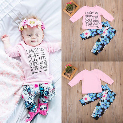 81195df79493 ... 2pcs Toddler Kids Baby Girls Clothes Sets Outfits T-shirt Tops Long  Sleeve Pants Flower ...