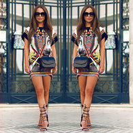 (32649024544) New Women Summer Printing Short Sleeve Mini Dress Casual Beach Dress Women Sexy Mini Dress