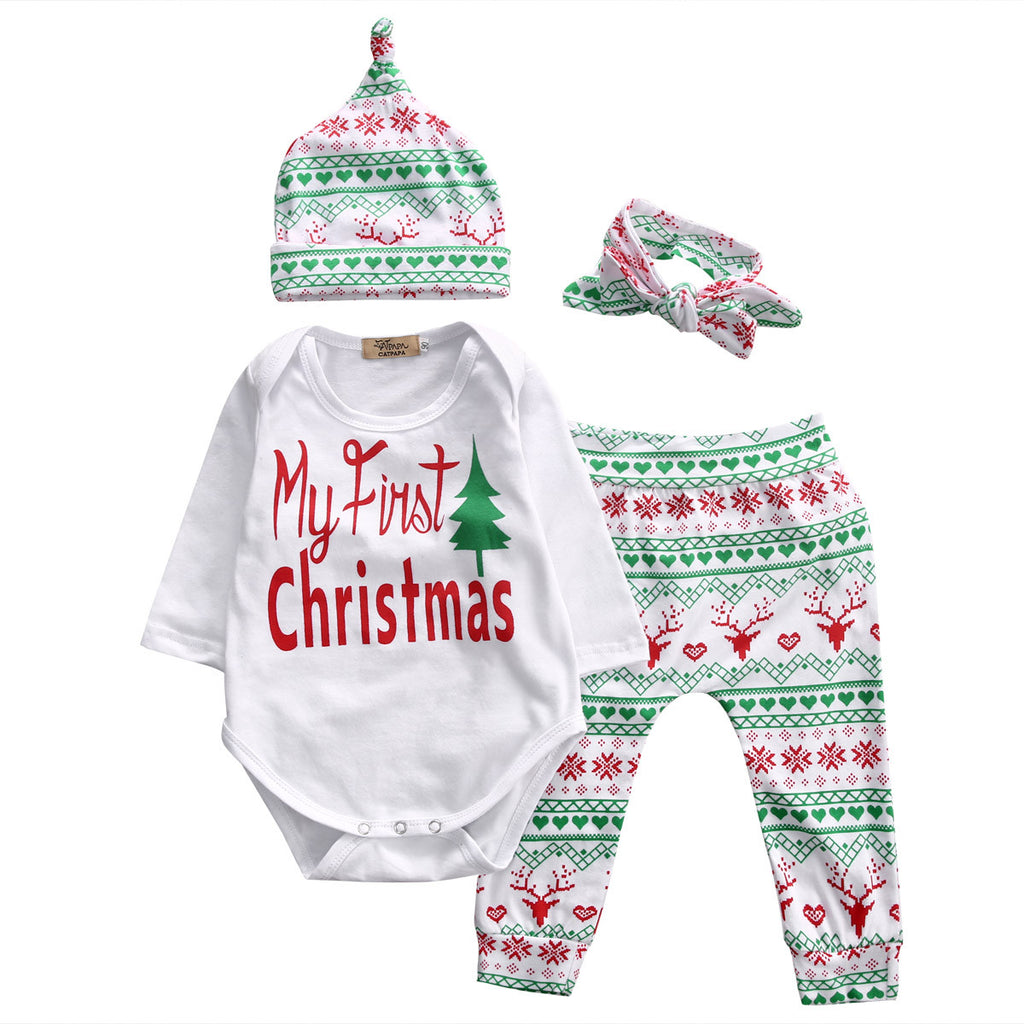 4 Pcs Infant Babies Long Sleeve Onesie Pants Hat Headband