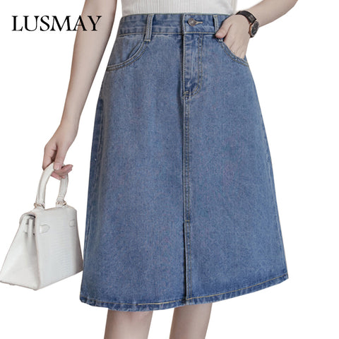 59bf6614f4 5XL Plus Size Denim Skirts Womens 2017 Fashion High Waist Jeans Skirt Women  Clothing Preppy Casual