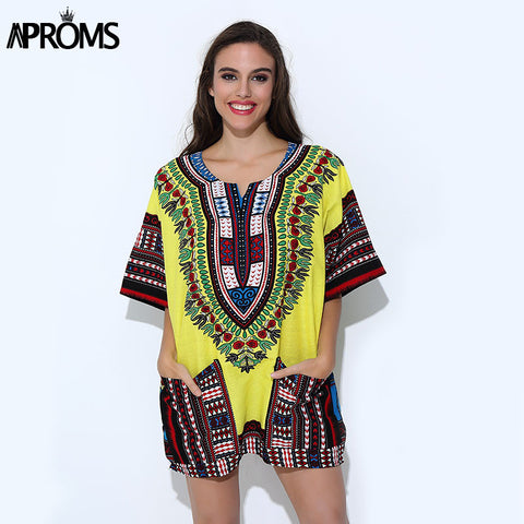 5a7acf827c7 Aproms Unisex Yellow Classic Cotton Dashiki Tops Traditional African  Clothing for Women Shirt Plus Size Summer