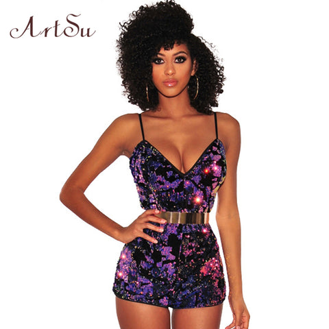 f6a784abca ArtSu Vintage Sequin Strap Jumpsuit Romper Women V-neck Sleeveless 2018  Summer Playsuit Backless Slim