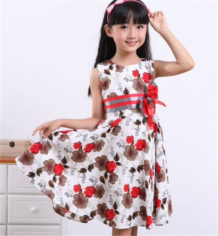 fde7020a3789 Baby Girls Floral Summer Dress Girl Cotton Princess Birthday Party ...