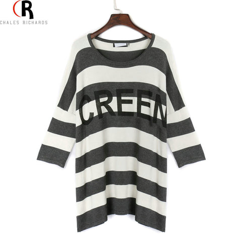 4e41269b084558 Black White Striped Letter Prints Half Batwing Sleeve T-shirt Boyfrien –  Honeybee Line