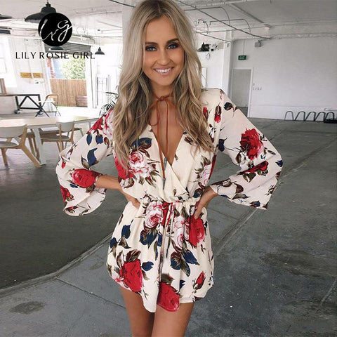 f4a4f5b1ed8 ... Boho Red Floral Print Elegant Jumpsuit Romper Summer Style Sexy V Neck  Long Sleeve Women Playsuit ...