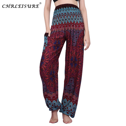 60eddf9e94d95 ... CHRLEISURE Women High Waist Printed Beach Boho Pants Fashion Harem  Pants Women Plus Size Loose Bohemian ...