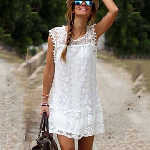Casual Dress Mini Sleeveless Bohemian White Lace Dress Boho Clothing ...