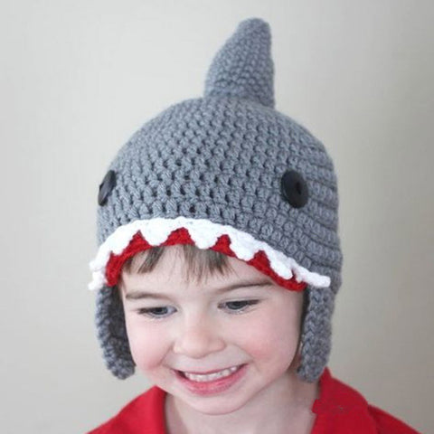 Child s Hats Funny Cute Shark Beanies Animal Caps Birthday Christmas Gifts  Handmade Warm Winter Gorros 810f281aa57