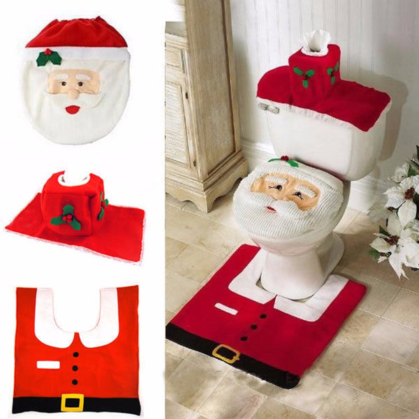 Awesome Christmas Decorations Happy Santa Toilet Seat Cover And Rug Bathroom Set Snowman Toilet Seat Christmas Party Decorations Pabps2019 Chair Design Images Pabps2019Com