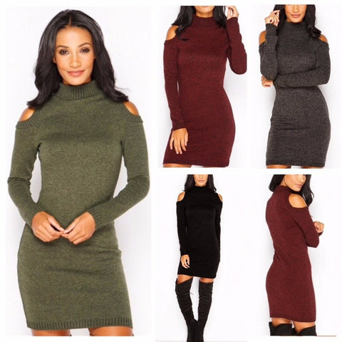95aca7d31ed1e Christmas Warm 2017 Autumn Winter Dress High Quality Knitted High-necked  Dresses package hip Sheath