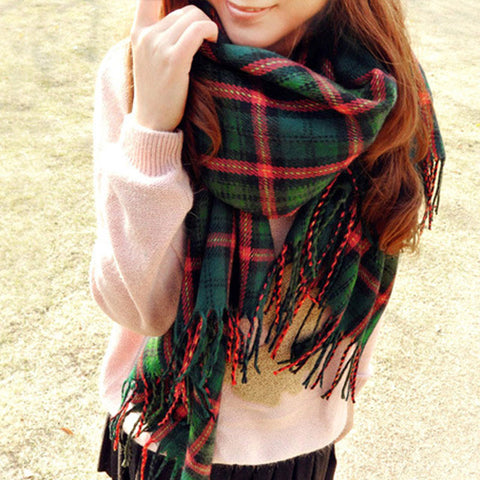 classic soft warm plaid scarf large wraps shawl kint cashmere womens winter infinity big square scarf - Christmas Plaid Scarf