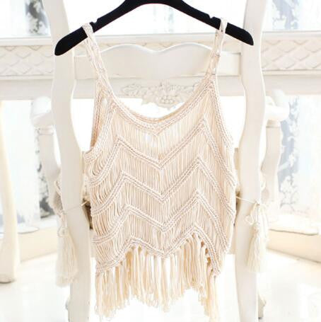 Crochet Top Summer Style Fringe Tops Sexy Crop Top Tassel Knitted