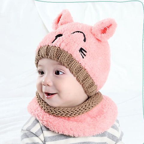71e81bf1e Cute Cat Knitted Baby Caps and Scarves Boys Girls Toddler Crochet Beanie  Hairball Ear Baby Hat Cute Children Caps