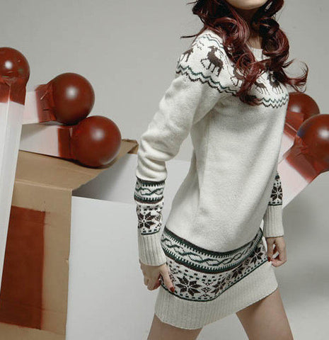 f308ba29c2 ... Deer Printing Knitted Pullover Sweater Women s Design Outerwear Pullover  Korean Ladies Sweater With ...