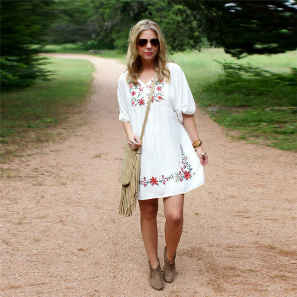 Durable Fashion summer dress Women Mexican Ethnic Embroidered Pessant Hippie Gypsy Boho Mini Dress Sexy vestidos