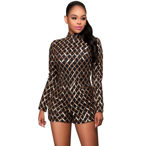 59deb23560e Elegant Gold Sequin Jumpsuit Bodycon Sexy Rompers For Women Fashion V- – Honeybee  Line