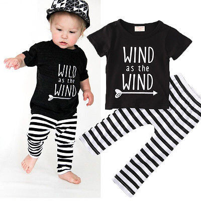 6f08e30a Fashion Kid Letter Clothes Baby Boy Black Top Baby Girl Print T-shirt  Toddler Striped Pants Infant Autumn 2pcs Outfits
