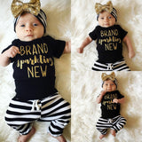 Fashion Newborn Toddler Baby Girls Tops Romper Stripe Pants 3Pcs Outfits Set Kids Stuff Clothes CA