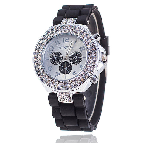 Fashion Silicone GENEVA Watch Crystal Silicone Jelly Watches Watched Women Rhinestone Watch Relogio Feminino BW1000