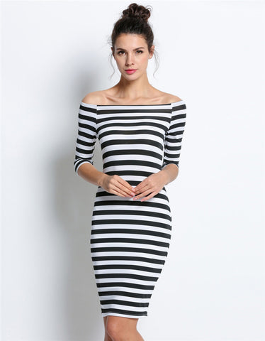 8848a70cc9e Fashion Straight Summer Dresses Women Stripes Ladies Casual Dress Roun –  Honeybee Line