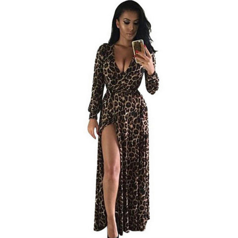 f349fad132 Female Sexy Leopard Dress Women High Split Vestido Bandage Dresses Bod –  Honeybee Line