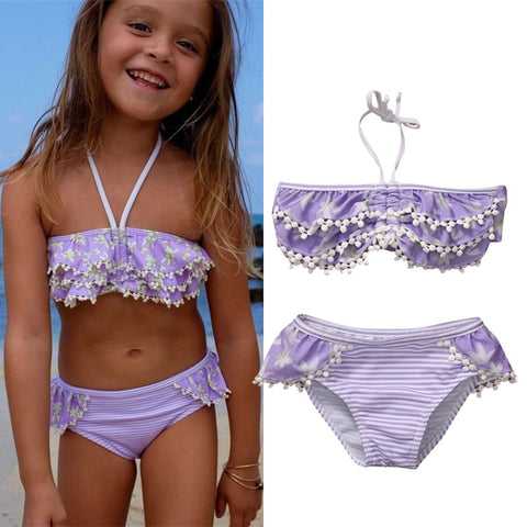 d4af39e8cc Floral Kids Baby Girl Bikini Suit Swimsuit Swimwear Bathing Swimming  Costume Tassels Ruffle Striped Kids Two-pieces Bathing Suit
